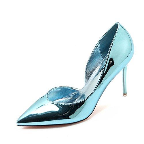 La Lado Sandalias Pintura Verano Vacía Blue Shoes El Cuero Baotou HXVU56546 La Fina Alto Con De De Nueva Heel Sandalias Punta fxdxA76B