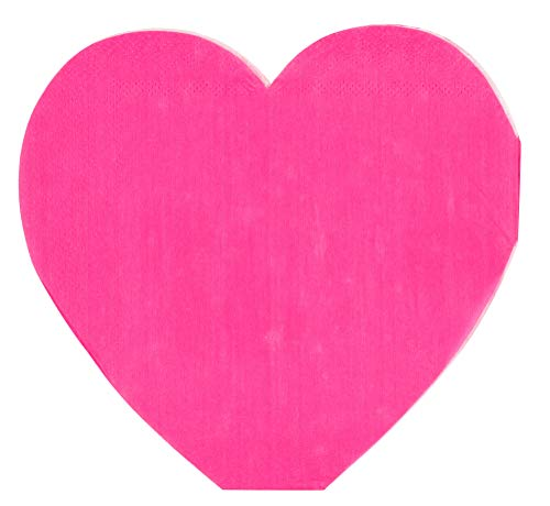 Cocktail Napkins - 50-Pack Disposable Paper Napkins, Valentines, Anniversary Dinner Party Supplies, 3-Ply, Heart Shaped Die-Cut Design, Neon Pink, Folded 6 x 6 Inches