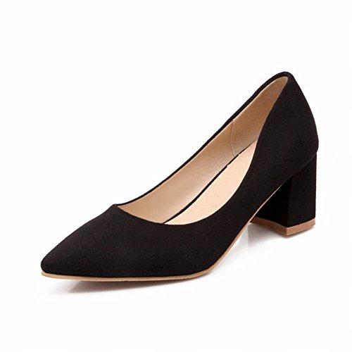 Latasa Women's Fashion Simple Nubuck Pointed-toe Chunky Mid-heel Pumps Shoes (10, Black)