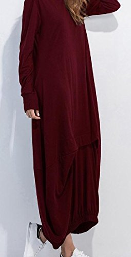 Neck Women Sleeved Red Beach Plus Scoop Maxi Wine Dress Long Size Comfy fw4Cxqf