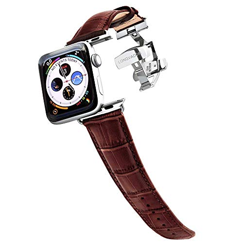 Longvadon Men's Watch Band - Compatible with Apple Watch Series 1, 2, 3 (38mm) & Series 4 (40mm) - Genuine Top Grain Leather - Caiman Series, Mahogany Brown with Silver Details ()