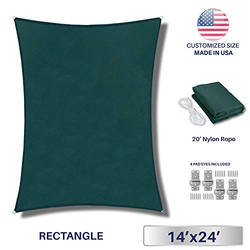 Windscreen4less Sun Shade Sail for Outdoor Patio Backyard UV Block Awning with Steel D-Rings 14ft x 24ft Dark Green Rectangle Included Free Pad Eyes – Custom Size