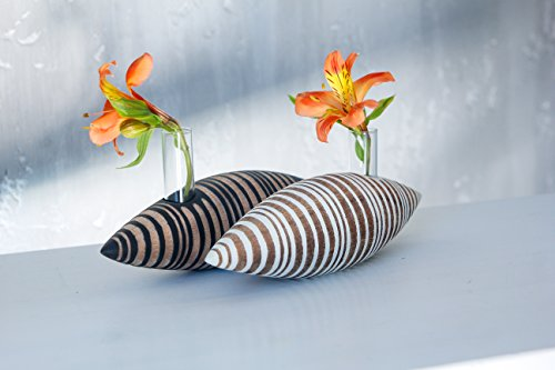 - Small Wooden Vase with Glass Insert Modern Flower Display Stand Test Tube Holder
