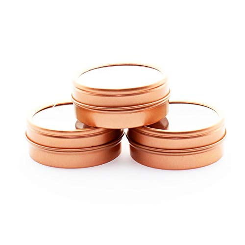 (Mimi Pack 1 oz Shallow Round Metal Tin Can Empty Window Slip Top Lid Steel Containers For Cosmetics, Favors, Spices, Balms, Gels, Candles, Gifts, Storage 24 Pack (Rose Gold))