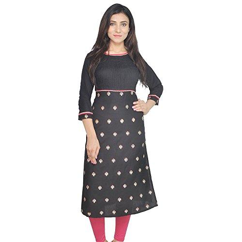 Chichi Indian Women Kurta Kurti 3/4 Sleeve Medium Size Printed Straight Black Top by CHI