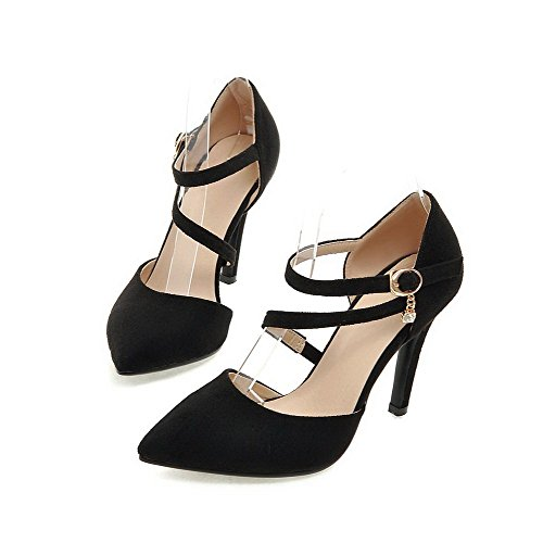 Buckle Closed Toe Black Shoes Spikes Pointed Frosted Pumps Stilettos WeenFashion Solid Women's TnwxqFIIE