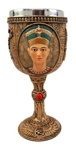 Atlantic Collectibles Ancient Egyptian Pharaoh Queen Nefertiti 6oz Resin Wine Goblet Chalice With Stainless Steel Liner ()