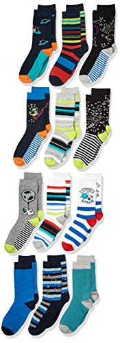 Spotted Zebra Kids' 12-Pack Crew Socks, Dinos in Space, Medium (1-3)