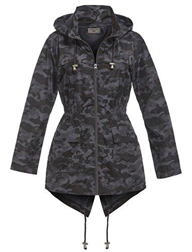 pour pluie de femmes Tailles SS7 16 Parka noir Noir 8 Veste Camouflage wq87xBFA