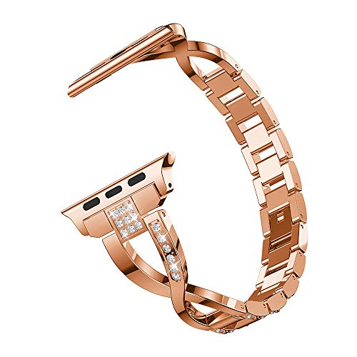 MiniPoco Tech Replacement Stainless Steel Crystal Strap Wrist Band for Apple Watch 4 - Strap Diamond White Alligator