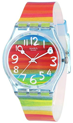 Swatch Women's GS124 Quartz Rainbow Dial Plastic Watch (Resistant Swatch Water Watch)