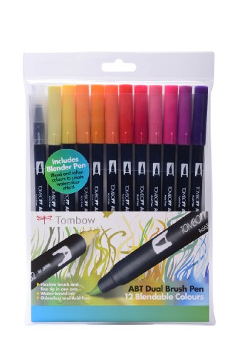 Tombow ABT Dual Brush Pen includes Blender Pen - Sunset Colours (Pack of 12)