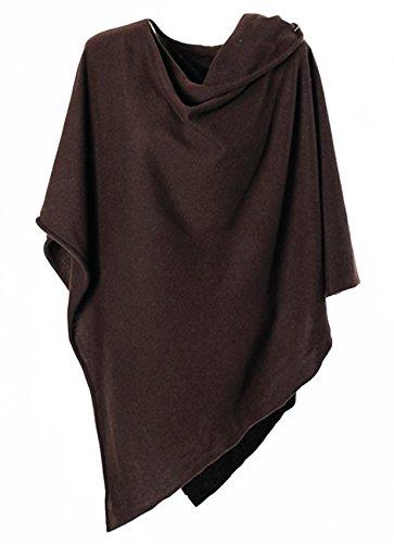 Anna Kristine Asymmetrical 100% Cashmere Draped Poncho Topper - Espresso Brown