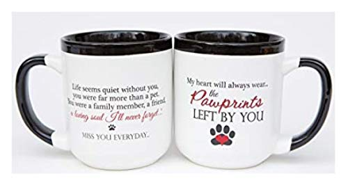 """Pet Memorial Coffee Mug with """"Pawprints Left by You"""" Sentiment -  16 oz Ceramic Coffee or Tea Mug for Grieving Pet Owners"""