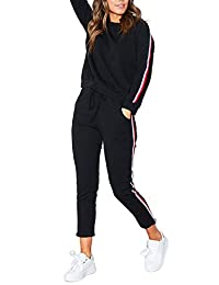 SOMTHRON Women's Casual Sport Sweatsuits Side Striped Tracksuit Jumper Sets Plus Size
