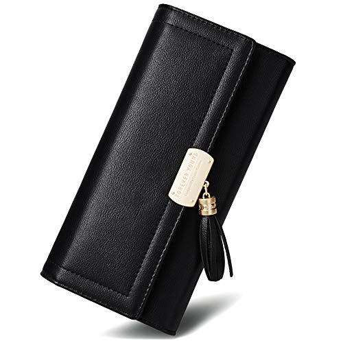 Women Wallet Soft Leather Designer Trifold Multi Card Organizer Lady Clutch Black