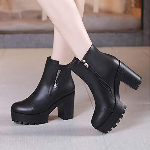 Mujer Cremallera Para Yan Negro Tacón Señoras Zapatos Alto Con De Plataforma Un Blanco Vestir Botas Invierno Botines EBwxqwpF