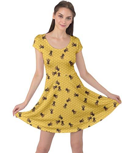 CowCow Womens Bee Honeycombs Honey Insect Honeybee Cap Sleeve Dress, XS-5XL Yellow