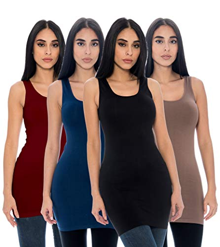 4-Pack Ladies Seamless Stretch Fitted Long Tank Top Camisole Layering Top Regular and Plus Sizes (One Size, Black, Taupe, Burgundy, Navy)