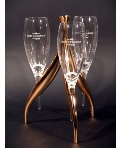 Moet Imperial Champagne Flute Glasses and Gold Metal Chandalier Stand (Dom Perignon Flutes)