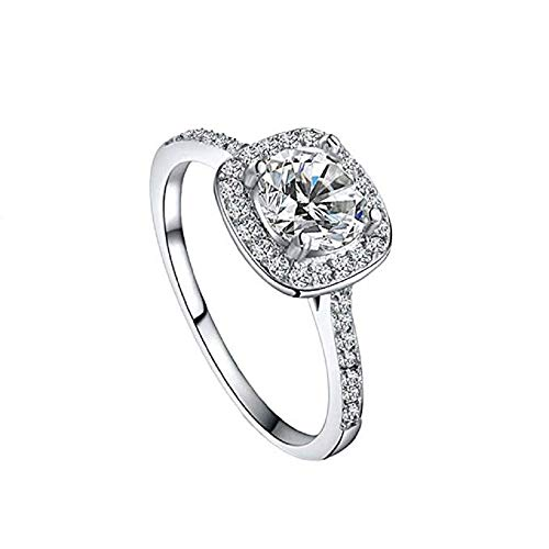 - 2019 New Platinum Hearts and Arrows Zircon Ring Women Rings Wedding Engagement Diamond Rings Jewelry by FAVOT (10, Silver)