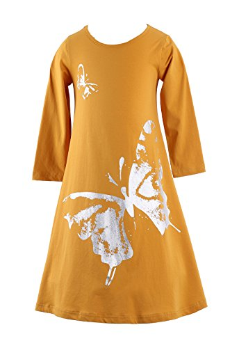 Yellow Butterfly Roses (Happy Rose Girls Butterfly Print Dress Yellow 10)