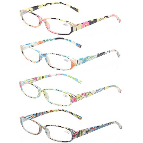 Reading Glasses 4 Fashion Women Eyeglasses With Floral Design Classic Spring Hinge Readers (1.25, 4 Pack Mix Color)