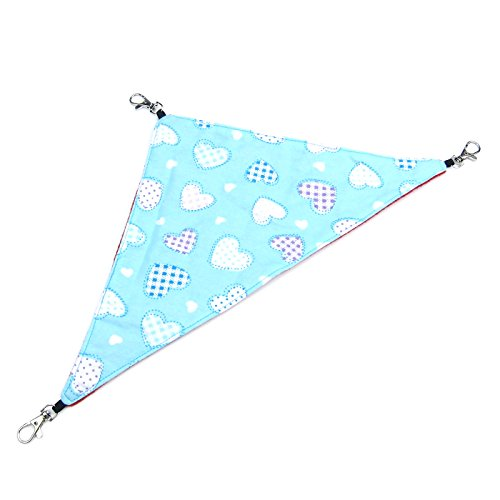 Alfie Pet by Petoga Couture – Hilary Triangle Hammock for Mouse, Chinchilla, Rat, Gerbil and Dwarf Hamster – Color: Blue