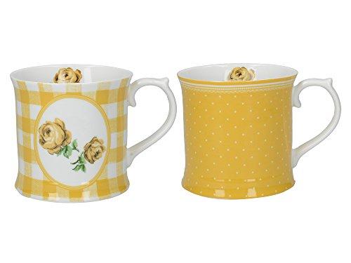 (CreativeTops Katie Alice Vintage Roses Porcelain Floral-Printed Tankard Mugs, 420 ml - Turmeric Yellow (Set of 2))