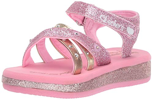 Skechers Heart Girls - Skechers Kids Girls' Sunshines-Heart Splash Sneaker, Gold/Pink, 6 Medium US Toddler