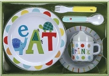 Jill McDonald Kids Melamine Dinnerware Set Alphabet Animals & Amazon.com : Jill McDonald Kids Melamine Dinnerware Set Alphabet ...