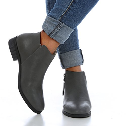 Low bright Pointed Boots for Color Side Heel Winter S1 Gray Western Women Ankle Toe Zipper Solid AqIHqxF