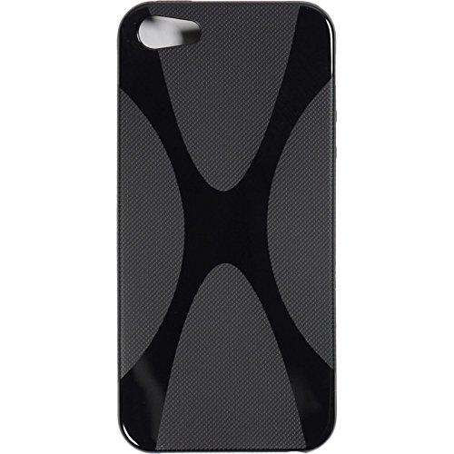 PhoneNatic Case für Apple iPhone 5 / 5s / SE Hülle Silikon schwarz X-Style Cover iPhone 5 / 5s / SE Tasche + 2 Schutzfolien