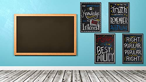 Grand Statements Motivational Posters Inspirational Wall Art Classroom Decorations - Multicolor Chalkboard Positive Quotes, Perfect for Office, Kids Room or Bathroom Art. Great Set of 4 13x19