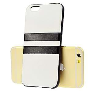 LANSUNS Premium Imitate Handtailor Stripe Leather Skin Soft TPU Rubber Gel Case for iPhone 6 4.7 inch (White)