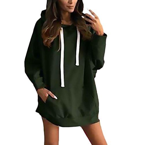 Sciolto Taglie Pullover Streetwear Colore Eleganti E Inverno Verde Manica Forti Hoody Con Tasche Woman E Sweatshirt Puro Sportiva Felpa Lunga Donna Casual Autunno Cappuccio Felpe qHwtAzzF