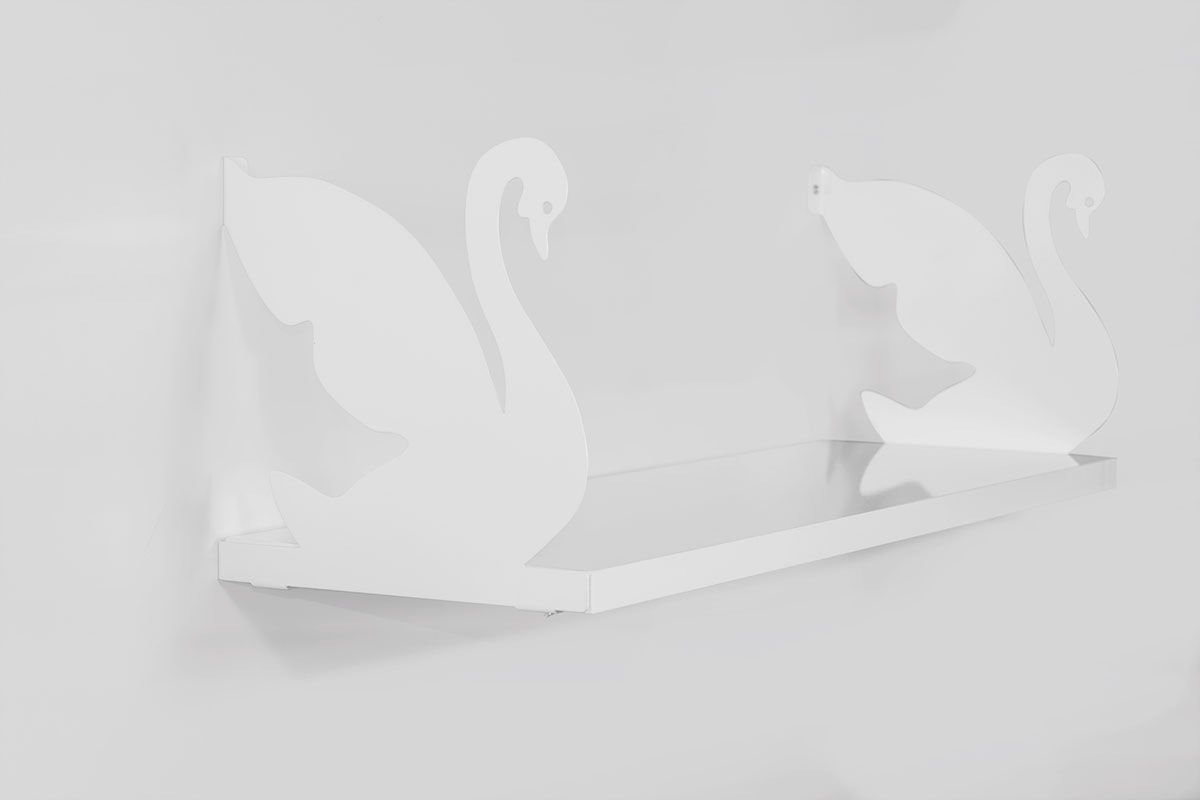 LaModaHome Two White Swans Wall Shelf, 100% Melamine Coated Particle Board - Size (23.6'' x 7.9'' x 7.9''), Easy to Hang with Invisible Brackets, Wall Mounted Floating Shelves for Home & Office