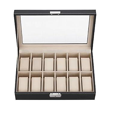 VonHaus Black Leather 12 x Watch/Jewelry/Cufflink Display Case - Watch Box