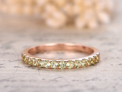 Solid 14k Rose Gold Half Eternity 2mm Round Cut Natural VS Green Peridot Bridal Wedding Propose Stacking Matching Band Size -