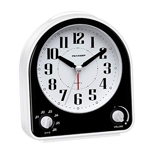 (Peakeep Non-Ticking Silent Alarm Clock, Optional 7 Wake-up Sounds with Volume Control, Nightlight and Snooze, AA Battery Operated and Included (Black))