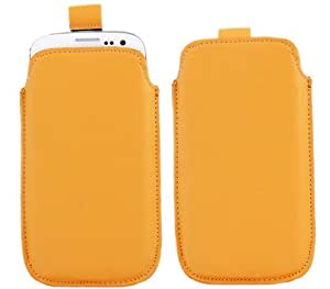iTALKonline NARANJA Calidad antideslizante Pouch Case Carcasa con Pull Tab para HTC Desire 310
