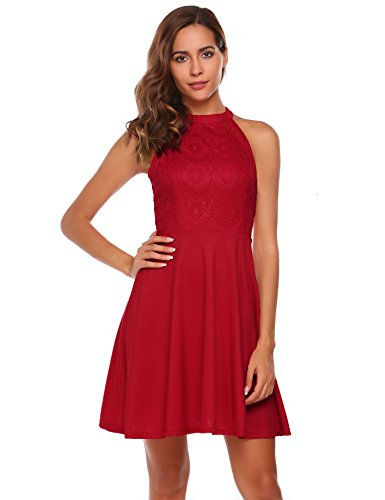 Zeagoo Womens Sexy Skater Dress Sleeveless Floral Lace Top Cocktail Party Club Halter Dress (Wine Red, S) (Evening Halter Top)
