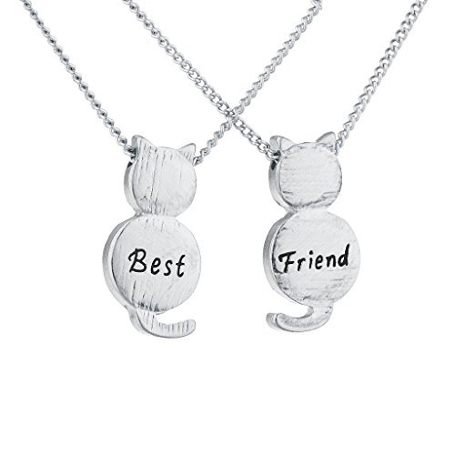 Lux Accessories Silvertone Best Friend BFF Engraved Cat Novelty BFF Necklace 2Pc
