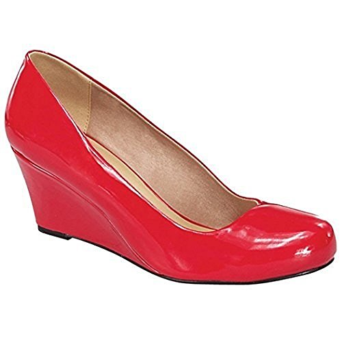 Forever Link Womens DORIS-22 Patent Round Toe Wedge Pumps Red Patent GYTam9nB6