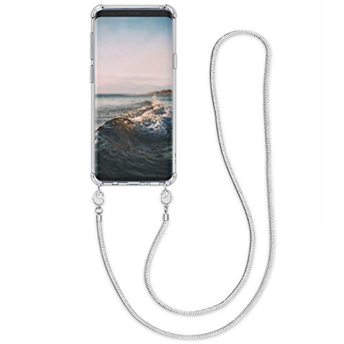 Phone Chain - kwmobile Crossbody Case for Samsung Galaxy S9 - Clear Transparent TPU Phone Cover Holder with Metal Chain Strap Necklace Lanyard