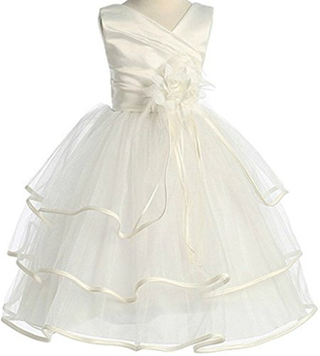 Flower Girl 3-Tier Rullfle Layer Tea Length Dress for Big Girl Ivory 8 1.27