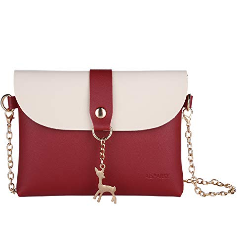 Small Crossbody Purse for Women With Pendant,PU Leather Crossbody Bag With Strap Cell Phone Bag for Girl (Red-Gold Chain) ()