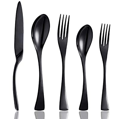 Culterman 20 Piece Flatware Silverware Cutlery Sets, unique modern look, Home & Kitchen Stainless Steel Dinnerware/Tableware/Utensils Sets For 4, Include Knives/Forks/Spoons, Dishwasher Safe - Features a classic heavy sturdy design for a modern look, unique black colored flatware set looks luxury and elegant, and easily match with your dinnerware. Only highest quality manufacture can produce such Superior stainless steel quality,which made the black coating more sturdy. Rust proof, antioxidant, heat resistant, exactly what you expect from your silverware. The serving set features beautifully-edged handles for elegant style. The gently curved contours at the base of each handle create a welcoming aesthetic conducive to any meal throughout the day and to any. - kitchen-tabletop, kitchen-dining-room, flatware - 41ZZJv7 6zL. SS400  -