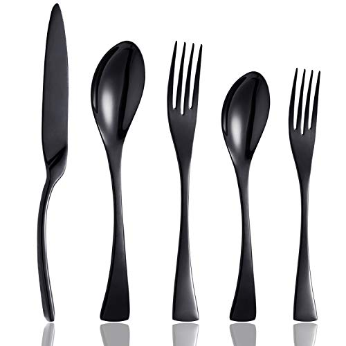 Culterman 20 Piece Flatware Silverware Cutlery Sets, unique modern look, Home & Kitchen Stainless Steel Dinnerware/Tableware/Utensils Sets For 4, Include Knives/Forks/Spoons, Dishwasher Safe (Black,4) (Flatware Unique)