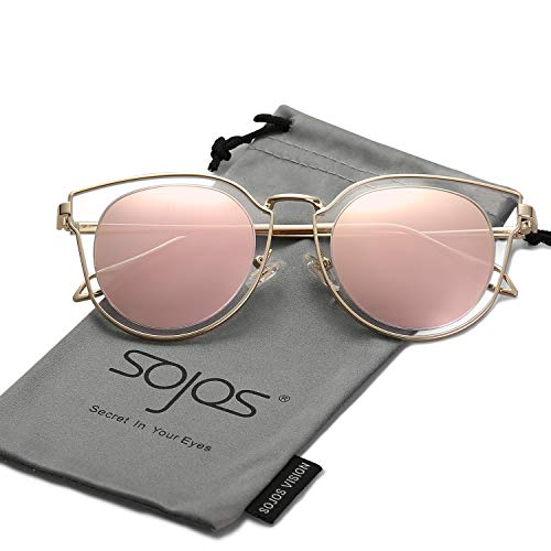 Silver Bypass Tone - SOJOS Fashion Polarized Sunglasses for Women UV400 Mirrored Lens SJ1057 with Gold Frame/Pink Polarized Lens